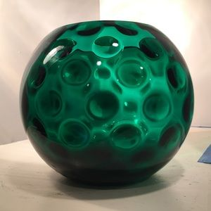 Optic Dot West Virginia Glass Green Vase